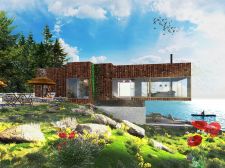 3д визуализация дома на воде