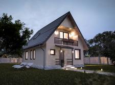 Визуализация бюджетного дачного дома (вечер)