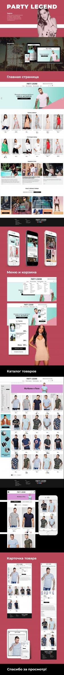 Адаптивный дизайн интернет магазина одежды