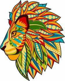 Рисунок льва для многослойного панно