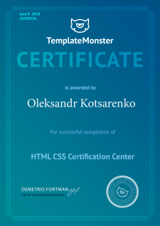 Сертифікат Template Monster HTML, CSS