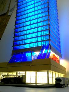 Макет небоскрёба, 1:87, с активной подсветкой