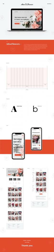 Дизайн  сайта по доставке цветов. Сетка. Мобайл.