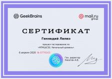 Сертифікат початкового рівня знання HTML/CSS