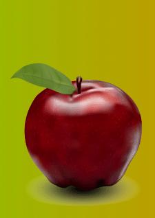 Яблоко отрисовано сетчатым градиентом