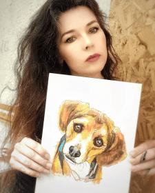 Рисование акварельными маркерами портретов собак