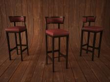 3Д стулья квадратные бордовые
