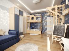 Разработка дизайна и визуализация детской комнаты