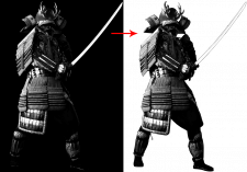 Обтравка фигуры на чёрном фоне
