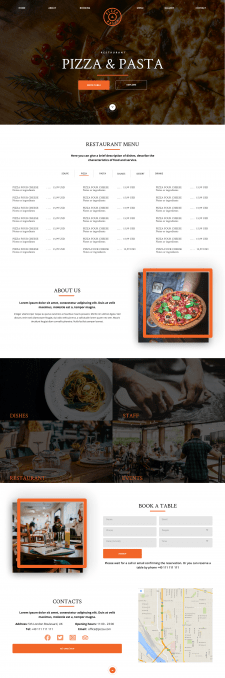 Сайт-визитка для ресторана (верстка)