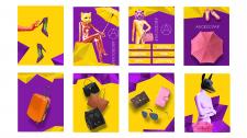 серия плакатов для магазина обуви и аксессуаров