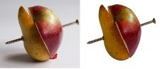 Яблоко и груша на белом фоне