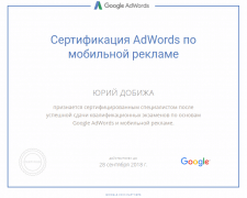 Сертификат Google АdWords - Мобильная реклама