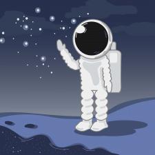 Астронавт - тема космос, иллюстрация