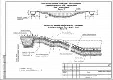 Схема и узел откосного крепления бортов ручья