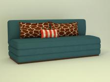 3д диван плоский синий