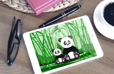 illustration of a pandas family