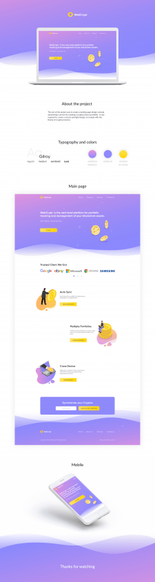 Cryptocurrency service - Landing page