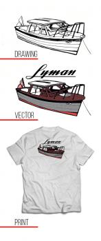 """Принт на футболку """"лодка"""""""