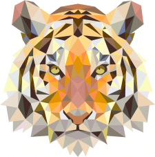 Triangle animals vector. Тигр.