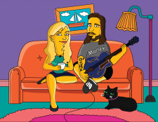 Пара на диване в стиле Симпсонов