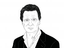 """Линейная графика портрет """"Лиам Ниссон"""""""