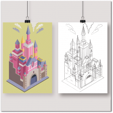 Иллюстрация замка Disney в изометрии