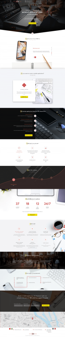 Landing page Development of mobile applications