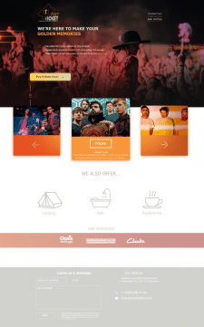 Landing page of tickets selling service
