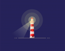Red lighthouse, vector illustrati