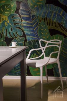 """Роспись стены в кухне офиса, БЦ """"Леонардо"""""""