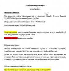 Юзабилити аудит сайта formulam2.ru
