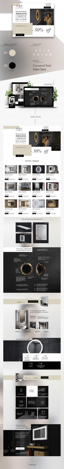 Сайт для магазина зеркал