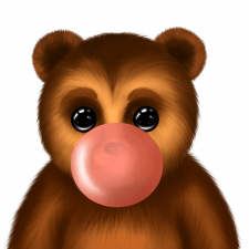 bear with bubble gum