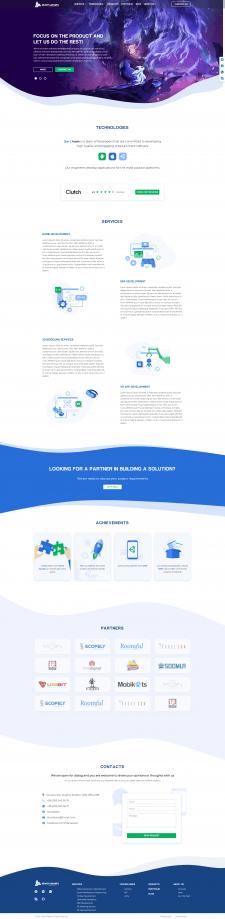 Верстка корпоративного сайта для IOS, Unity dev