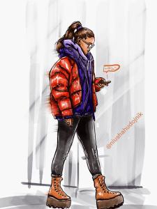 цифровой скетч, Девушка с телефоном