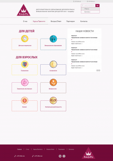 Page categories of the website