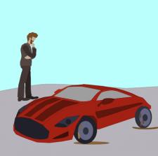 красивая красная машина с задумчивым мужчиной
