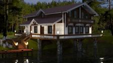 Дом на озере/вечер