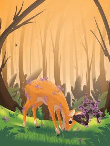 Young Floral Deer