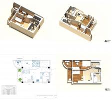 3д планировка и план перепланировки квартиры 46,3м