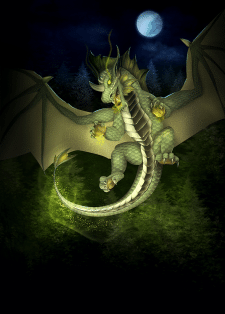 Green dragon for card game