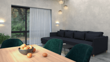Kitchen-living room design 33m2 in a private house