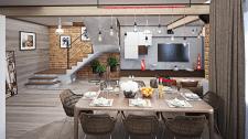 Гостиная-кухня в стиле лофт