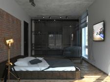 Визуализация мужской спальни (лофт)