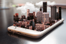 3D Effect. City in a phone