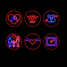 Иконки в стиле неон для ИГ