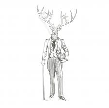 татуировка олень в смокинге с тростью и сигаретой