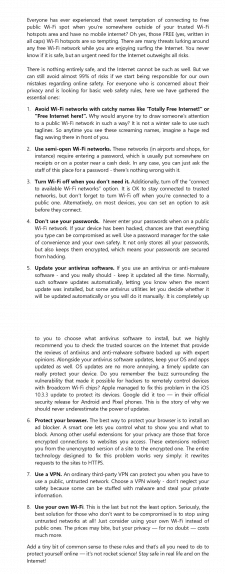 "Копирайтинг ""Public Wi-Fi safety tips"""