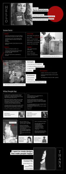 Сайт-визитка дизайнера на английском языке